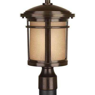 Wish Collection 1-Light Antique Bronze LED Post Lantern