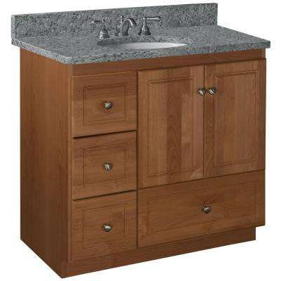 Ultraline 36 in. W x 21 in. D x 34.5 in. H Vanity Cabinet Only with Left Drawers in Medium Alder