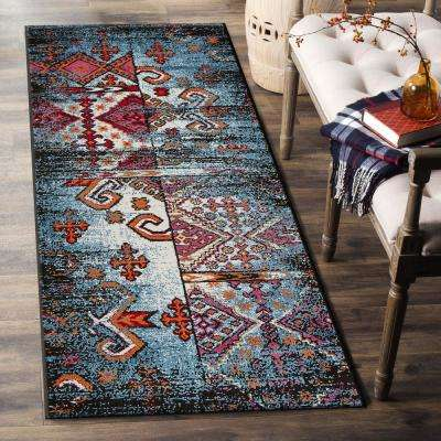 Fusion Blue/Black 2 ft. 3 in. x 7 ft. Indoor Runner Rug