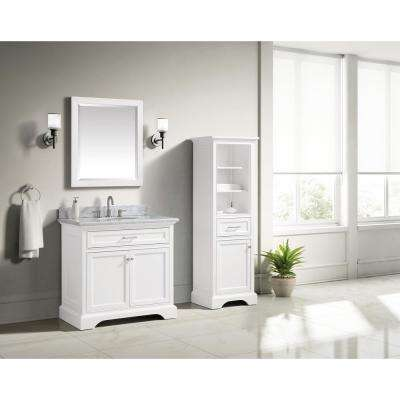 Windlowe 37 in. W x 22 in. D x 35 in. H Bath Vanity in White with Carrera Marble Vanity Top in White with White Sink