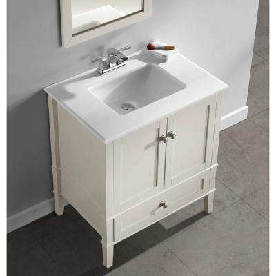 Chelsea 30 in. Bath Vanity in Soft White with Engineered Quartz Marble Vanity Top in White with White Basin