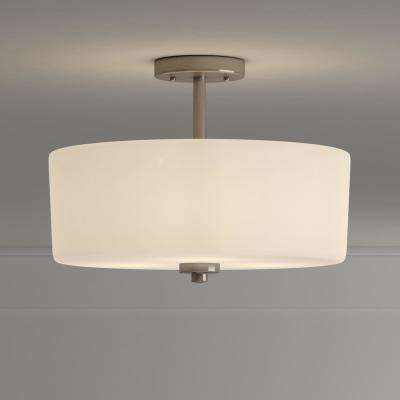 14 in. 3-Light Brushed Nickel Semi-Flush Mount with White Glass Drum Shade
