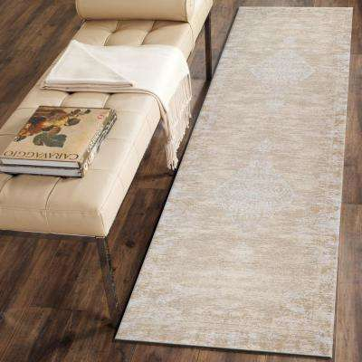 Jewel Distressed Beige Natural 3 ft. x 7 ft. Indoor Runner Rug