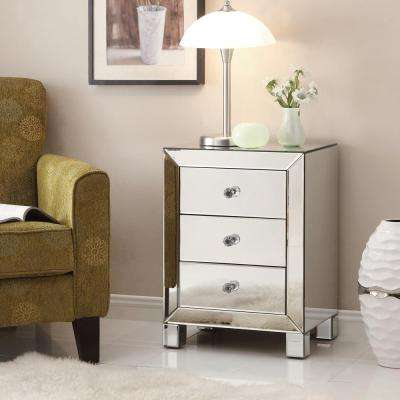 Reflections 3-Drawer Accent Table in Silver Mirror