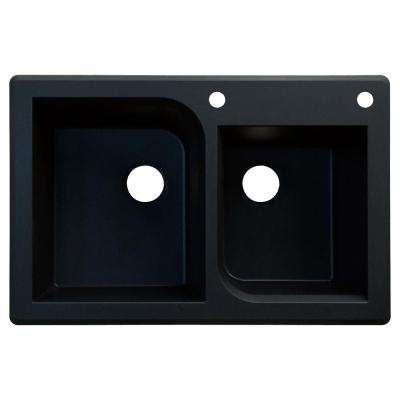 Radius Top Mount Granite 33 in. 2-Hole 1-3/4 Offset Double Bowl Kitchen Sink in Black