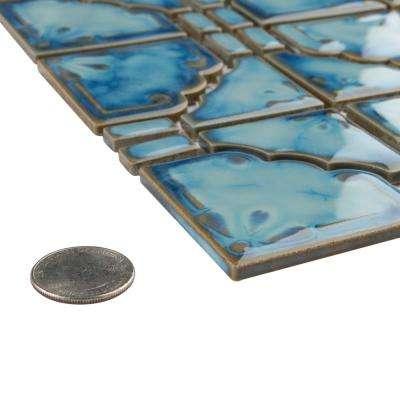 Moonbeam Diva Blue 12 in. x 12 in. Porcelain Mosaic Tile (9.79 sq. ft. / Case)