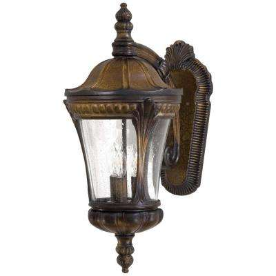 Kent Place 3-Light Prussian Gold Outdoor Wall Mount Lantern
