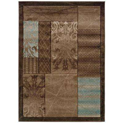 Milan Collection Brown and Aqua 5 ft. x 7 ft. 7 in. Indoor Area Rug
