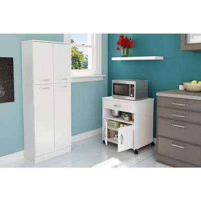 Fiesta Laminate Particle Board Microwave Cabinet on Wheels in Pure White