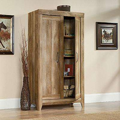 Adept Collection Particle Board Wide Storage Cabinet in Craftsman Oak