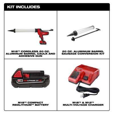 M18 18-Volt Lithium-Ion Cordless 20 oz. Caulk and Adhesive Gun Kit Aluminum Sausage W/(1) 1.5Ah Battery, Charger