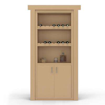 36 in. x 80 in. Flush Mount Assembled Paint Grade Unfinished Left-Hand Outswing Wine Rack Door