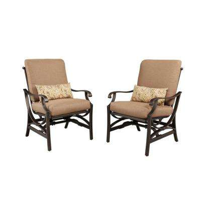 Pine Valley Patio Motion Dining Chair with Linen Spice Cushion (2-Pack)
