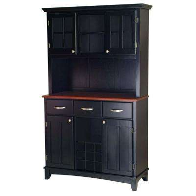Three-Drawer 44 in. W Black Buffet with Cherry Wood Top and Hutch