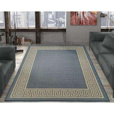 Jardin Collection Blue Greek Border Design Indoor/Outdoor 5 ft. x 7 ft. Jute Back Area Rug