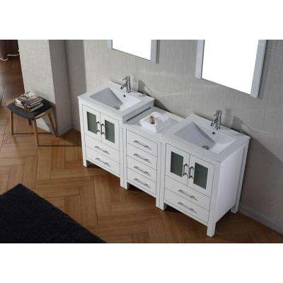 Dior 66 in. W Bath Vanity in White with Ceramic Vanity Top in Slim White Ceramic with Square Basin and Mirror and Faucet