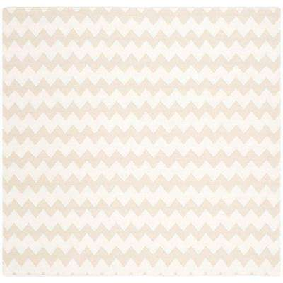 Dhurries Beige/Ivory 6 ft. x 6 ft. Square Area Rug
