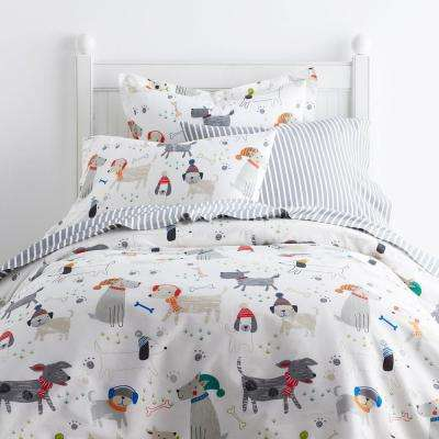 Playful Pups 200-Thread Count Cotton Percale Duvet Cover