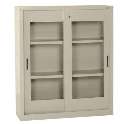 42 in. H x 36 in. W x 18 in. D Freestanding Clear View Sliding Door Steel Cabinet in Putty