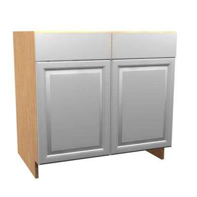 30x34.5x24 in. Anzio Sink Base Cabinet with Pullout Caddy 2 Soft Close Doors and 2 False Drawer Fronts in Polar White