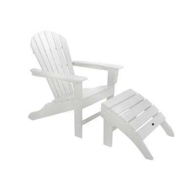 POLYWOOD South Beach White 2-Piece Adirondack Patio Chair