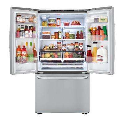 23 cu. ft. Counter Depth 3-Door French Door Refrigerator in Stainless Steel
