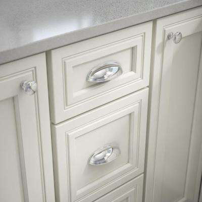 2-1/2 or 3 in. (64 or 76mm) Center-to-Center Polished Chrome Dual Mount Cup Drawer Pull