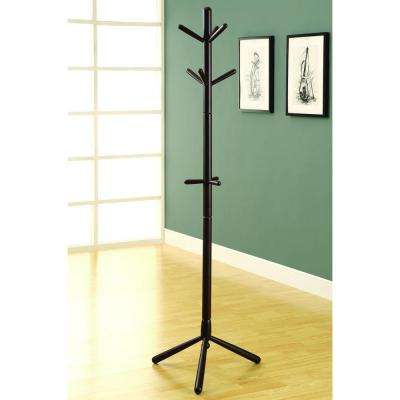 9-Hook Cappuccino Contemporary Solid Wood Coat Rack