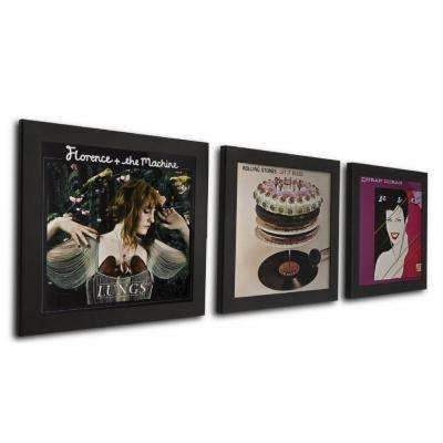3-Opening 12 in. x 12 in. Black Vinyl Record Picture Frame