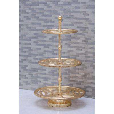 12 in. x 21 in. 3-Tier Gold-Finished Aluminum Tray Stand