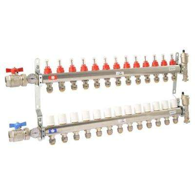 1 in. NPT Inlet x 1/2 in. Push-Fit 13-Outlet Radiant Heating Manifold
