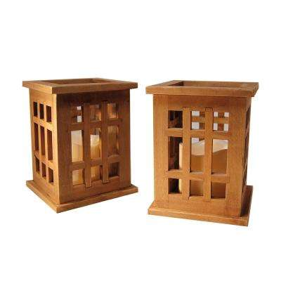 Lantern 7 in. x 12.75 in. Wooden Natural Brown with LED Candle (Count of 2)