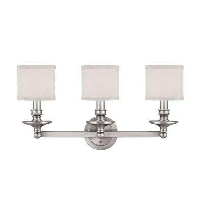 Johnson Collection 3-Light Matte Nickel White Fabric Vanity Light