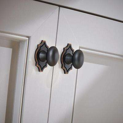 Pryce 1-1/8 in. (28 mm) Bronze with Copper Highlights Oval with Backplate Cabinet Knob