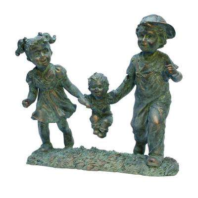Swing Time Boy and Girl 12 In. W x 6 In. D x 12 In. H Garden Statue-DISCONTINUED
