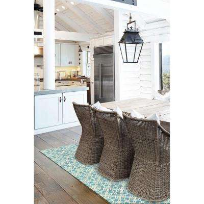 Washable Floral Tiles Aqua Blue 5 ft. x 7 ft. Stain Resistant Area Rug