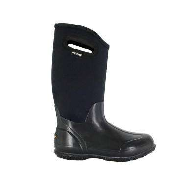 Classic High Women 13 in. Glossy Black Rubber with Neoprene Handle Waterproof Boot