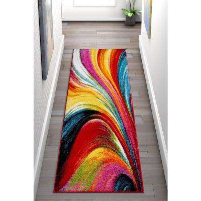 Viva Pleasure Multi Color Modern Abstract Lines 2 ft. 3 in. x 7 ft. 3 in. Runner Rug