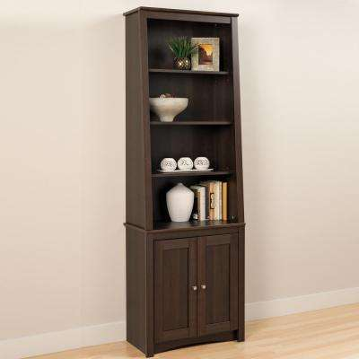 5-Shelf Slant Back Bookcase with Shaker Doors in Espresso