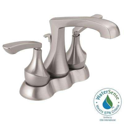 Merge 4 in. Centerset 2-Handle Bathroom Faucet with Metal Drain Assembly in SpotShield Brushed Nickel