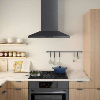 800 Series 30 in. Pyramid Style Canopy Range Hood with Lights in Black Stainless Steel
