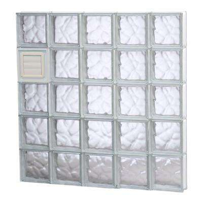 38.75 in. x 38.75 in. x 3.125 in. Wave Pattern Glass Block Window with Dryer Vent