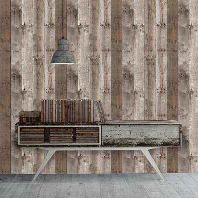 Repurposed Wood Weathered Peel and Stick Wallpaper 28 sq. ft.