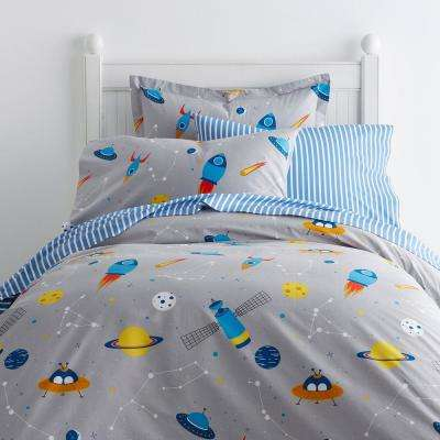 Space Mission 200-Thread Count Cotton Percale Duvet Cover
