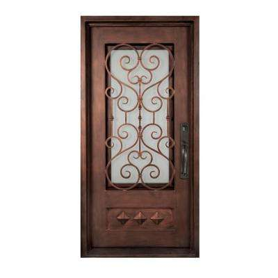 37.5 in. x 81.5 in. Vita Francese Classic 3/4 Lite Painted Oil Rubbed Bronze Wrought Iron Prehung Front Door