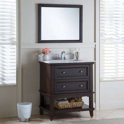 Teasian 31 in. W x 22 in. D Bathroom Vanity in Chocolate with Stone Effects Vanity Top in Winter Mist