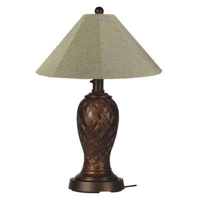 Monterey 34 in. Bronze Outdoor Table Lamp with Basil Linen Shade