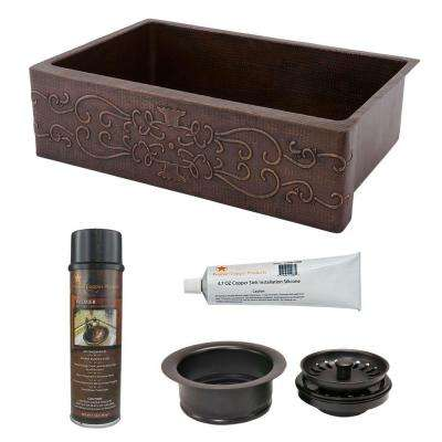 Undermount Hammered Copper 33 in. 0-Hole Single Bowl Kitchen Sink with Scroll Design and Drain in Oil Rubbed Bronze
