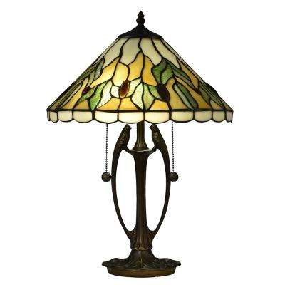 2-Light 20.75 in. South Island Antique Bronze Table Lamp with Tiffany Art Glass Shade