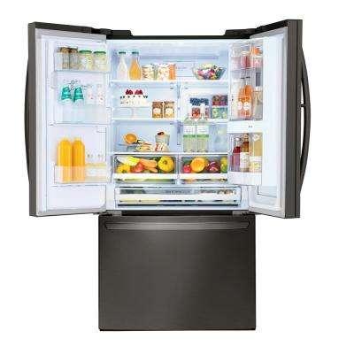 28 cu. ft. 3 Door French Door Smart Refrigerator with InstaView Door-in-Door in PrintProof Black Stainless Steel